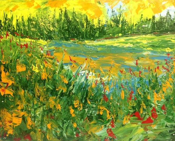 Abstract Landscape Canadian Impressionist Group Of Seven Poster featuring the painting Summer - Pond Side by Desmond Raymond