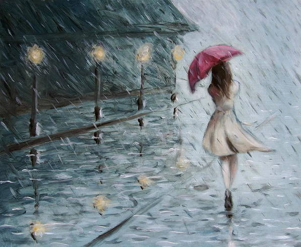 Rain Poster featuring the painting Summer Storm by Heather Bullach