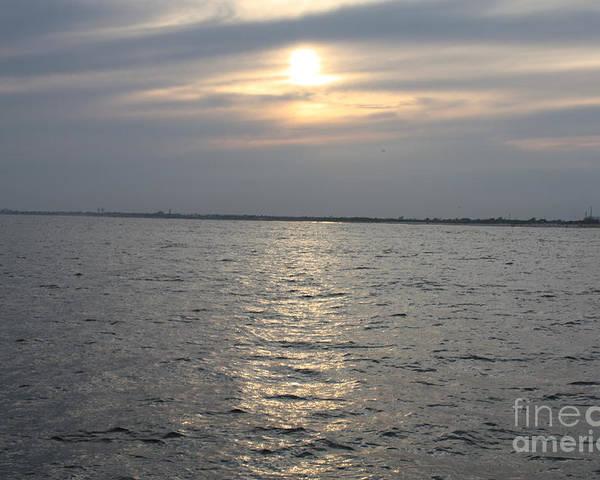 Summer Sunset Over Freeport Poster featuring the photograph Summer Sunset Over Freeport by John Telfer