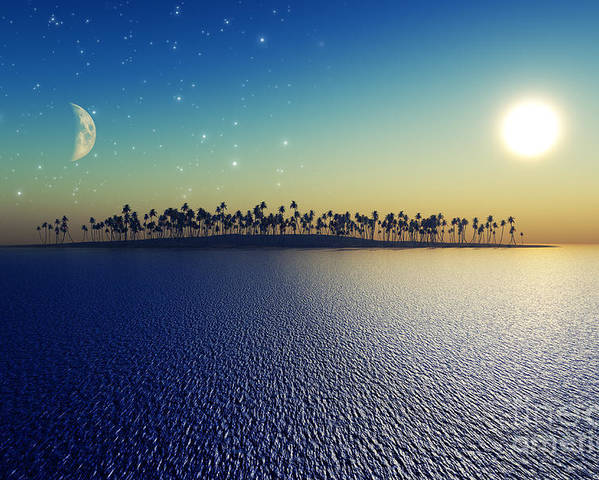 Islands Poster featuring the digital art Sun And Moon by Aleksey Tugolukov