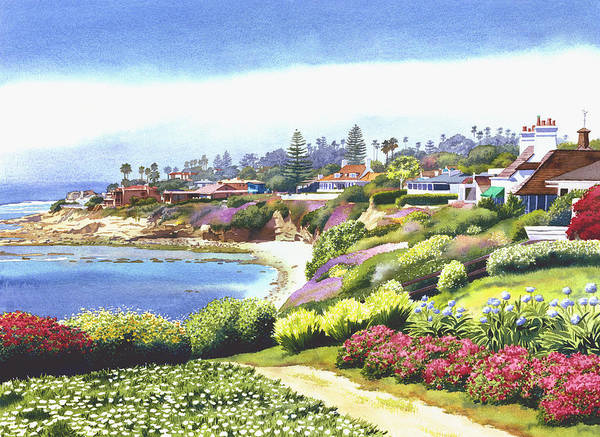 Sun Gold Point Poster featuring the painting Sun Gold Point La Jolla by Mary Helmreich