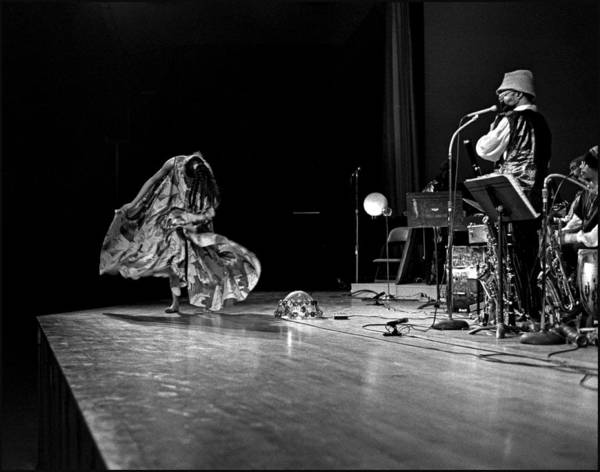 Sun Ra Arkestra At Freeborn Hall Poster featuring the photograph Sun Ra Dancer And Marshall Allen by Lee Santa