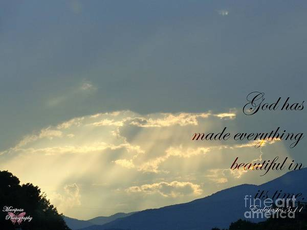 Sun Poster featuring the photograph Sun Rays Ecclesiastes Chapter 3 Verse 11 by Jannice Walker