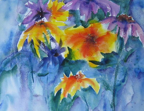 Watercolor Poster featuring the painting Sun Splashes by Anne Duke