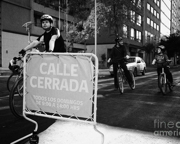 Sunday Poster featuring the photograph sunday morning roads closed for cyclists and walkers Santiago Chile by Joe Fox