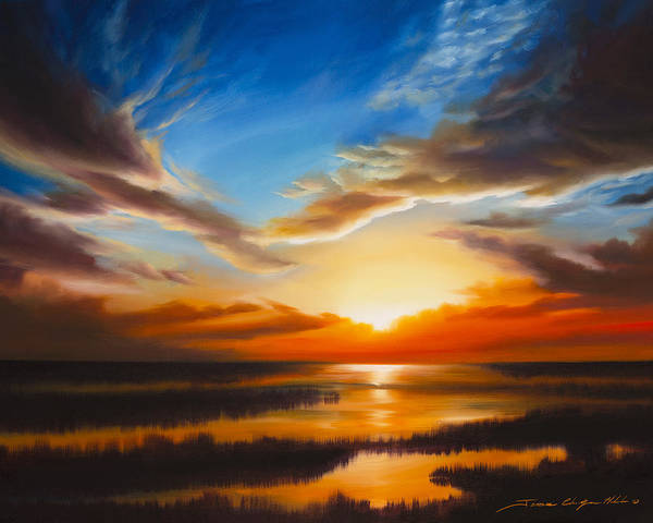 Sunrise Poster featuring the painting Sundown by James Christopher Hill