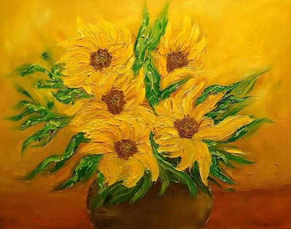 Flowers Poster featuring the painting Sunflowers by Svetla Dimitrova
