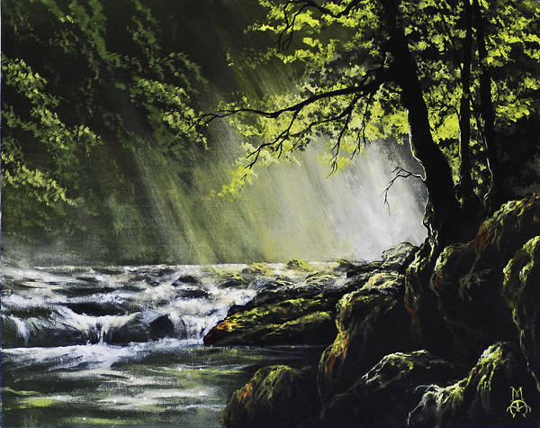 Waterfall Poster featuring the painting Sunlit Dream by Marco Antonio Aguilar