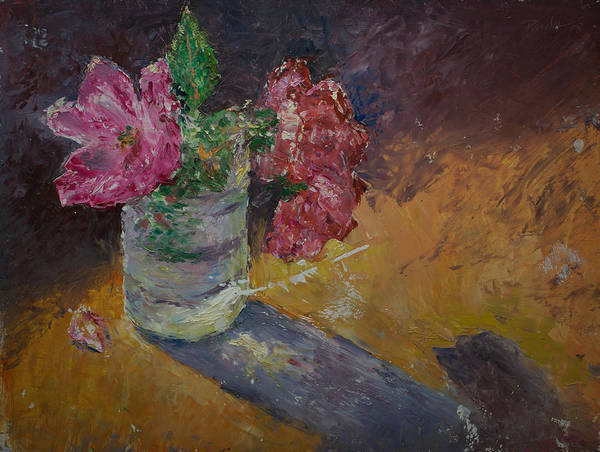 Oil Poster featuring the painting Sunlit Roses by Horacio Prada