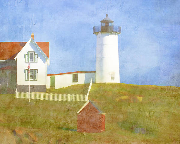 Light Poster featuring the photograph Sunny Day At Nubble Lighthouse by Carol Leigh