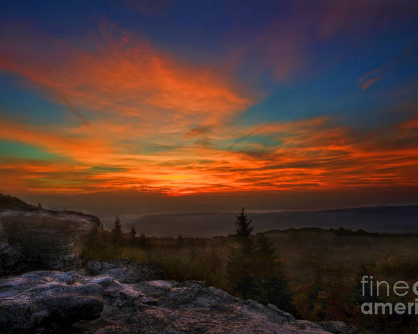 Sunrise Poster featuring the photograph Sunrise At Bear Rocks In Dolly Sods by Dan Friend