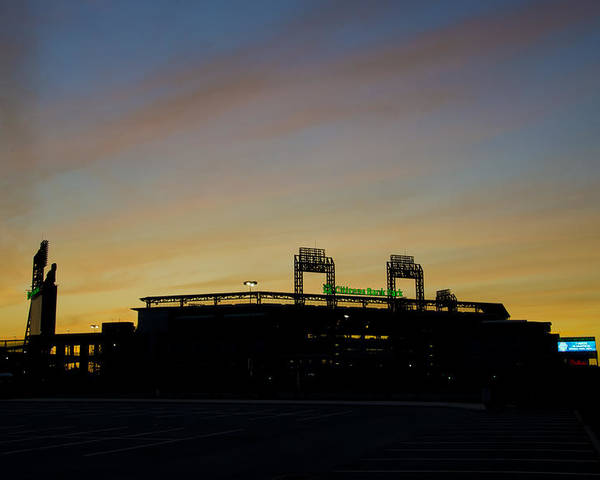 Sunrise Poster featuring the photograph Sunrise At Citizens Bank Park by Bill Cannon
