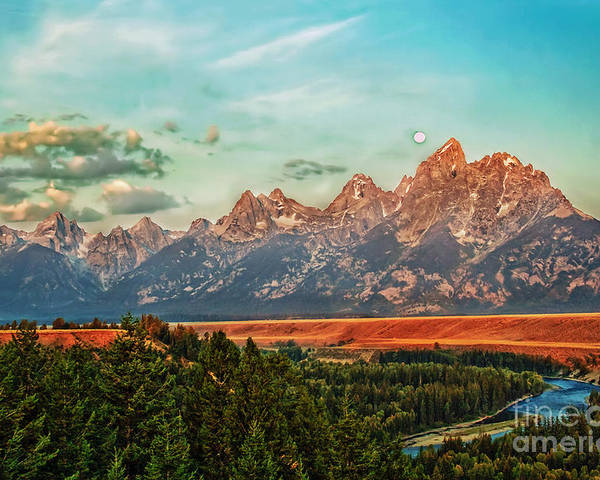 Landscape Poster featuring the photograph Sunrise At Grand Tetons by Robert Bales