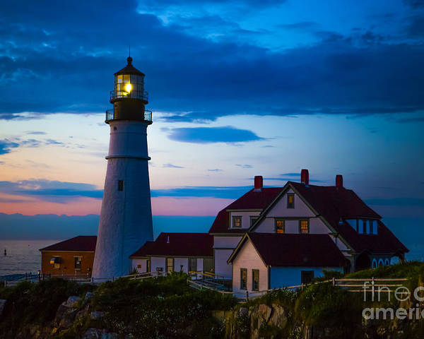 Lighthouse Poster featuring the photograph Sunrise At Portland Head Lighthouse by Diane Diederich