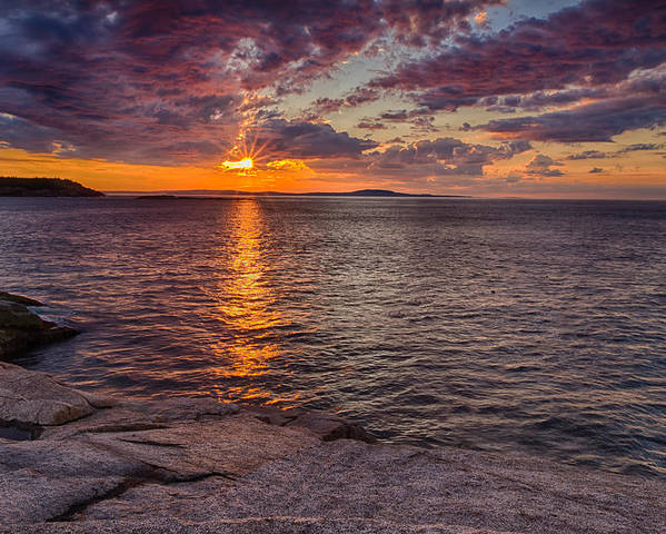 Sunrise In Acadia Poster featuring the photograph Sunrise Drama Acadia National Park by Jeff Sinon