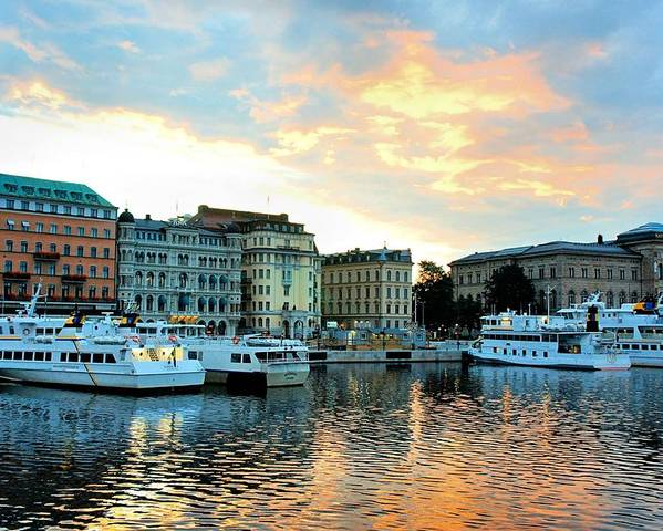 Stockholm Poster featuring the photograph Sunrise In Stockholm by Jenny Hudson