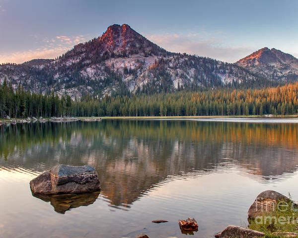 Wallowa Mountains Poster featuring the photograph Sunrise On Gunsight Mountain by Robert Bales