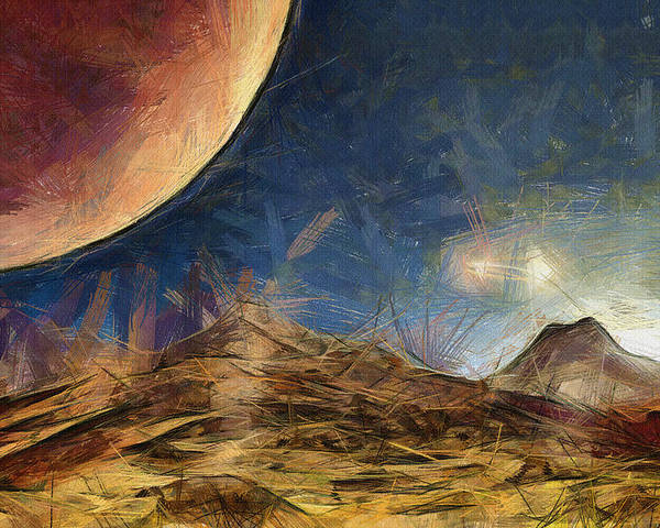 Space Poster featuring the painting Sunrise On Space by Ayse Deniz