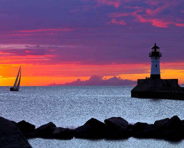 Sunrise lake Superior Sailing canal Park Lighthouse Duluth north Shore canal Park Lighthouse sail Boat Dawn Morning Magic Wow! Poster featuring the photograph Sunrise Sailing by Mary Amerman