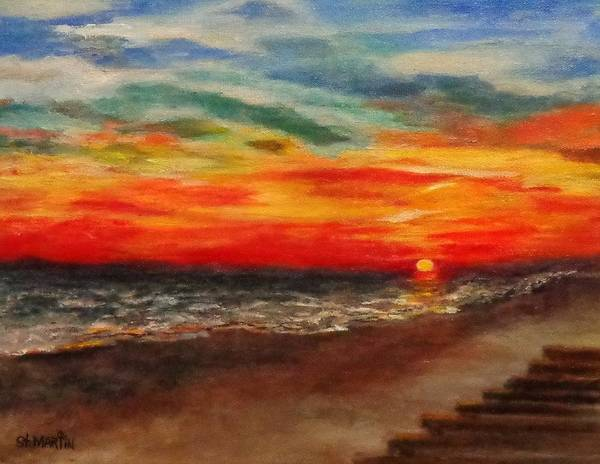 Sunset Poster featuring the painting Sunset After Sandy by Annie St Martin