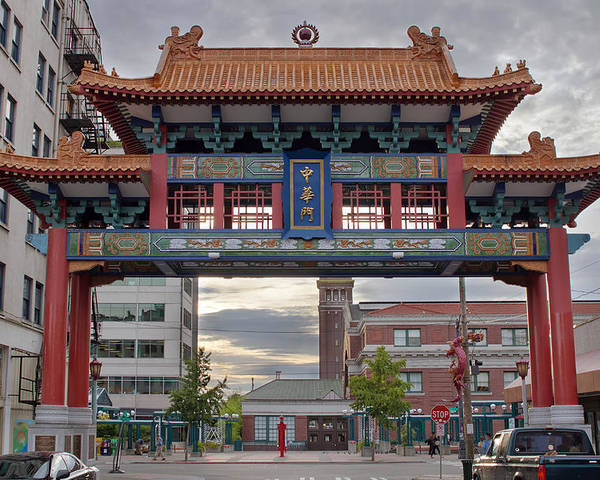 Chinatown Poster featuring the photograph Sunset At Chinatown Gate In Seattle Washington by Jit Lim