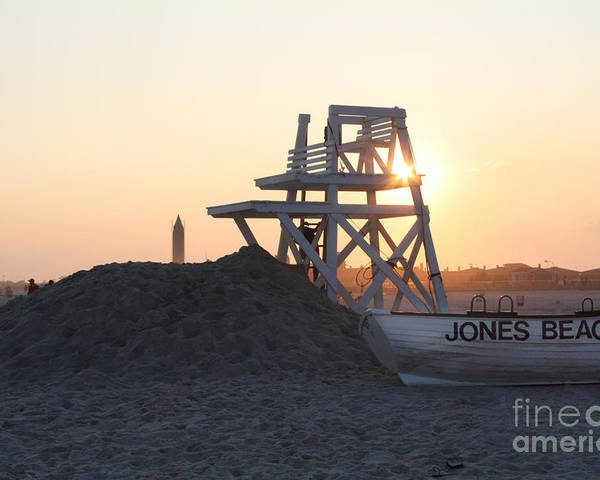 Sunset At Jones Beach Poster featuring the photograph Sunset At Jones Beach by John Telfer