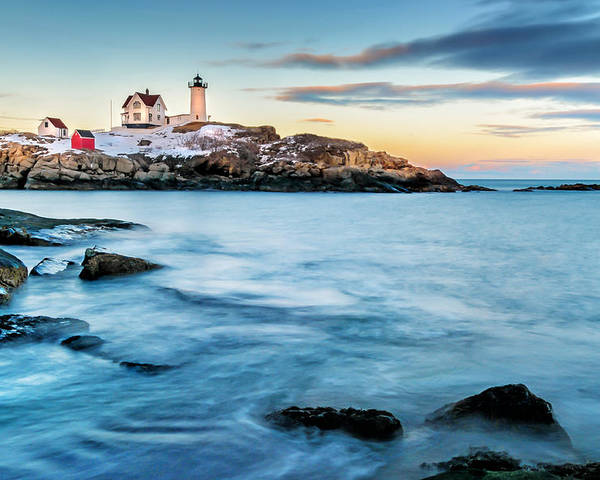 Maine Poster featuring the photograph Sunset At Nubble Light-cape Neddick Maine by Thomas Schoeller