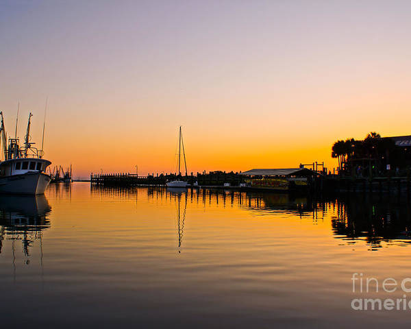 Shem Creek Poster featuring the photograph Sunset At Shem Creek by Matthew Trudeau