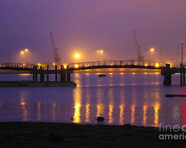 Southampton Docks Poster featuring the photograph Sunset At Southampton Docks by Terri Waters