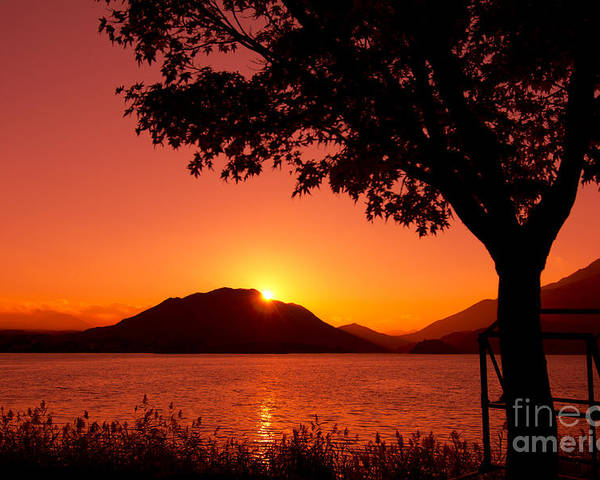 Sunset At The Lake Poster featuring the photograph Sunset At The Lake by Beverly Claire Kaiya
