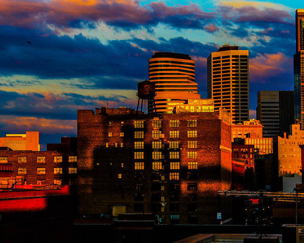 Poster featuring the photograph Sunset Behind Target Field by Nick Peters