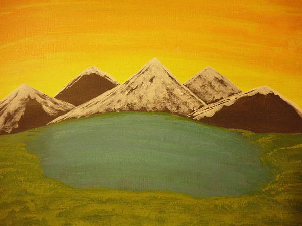 Mountains Poster featuring the painting Sunset Beyond by Erica Darknell