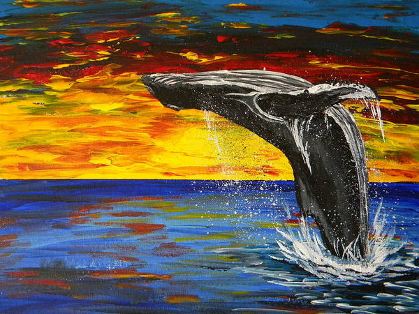 Sunset Poster featuring the painting Sunset Breach by Eric Johansen