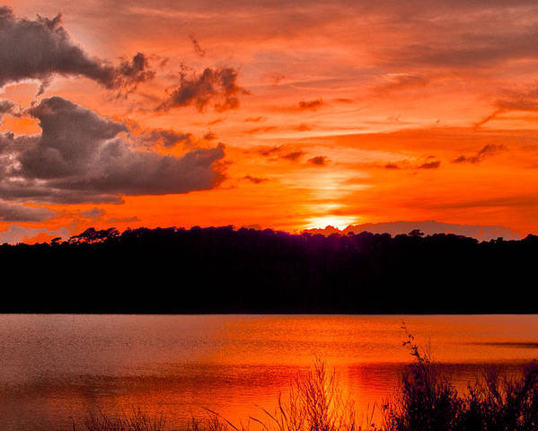 Sunset Poster featuring the photograph Sunset Huntington Beach State Park by Bill Barber