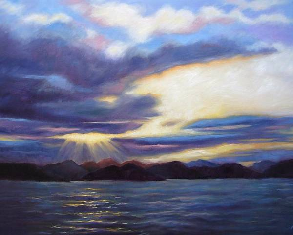 Sunset Poster featuring the painting Sunset In Norway by Janet King