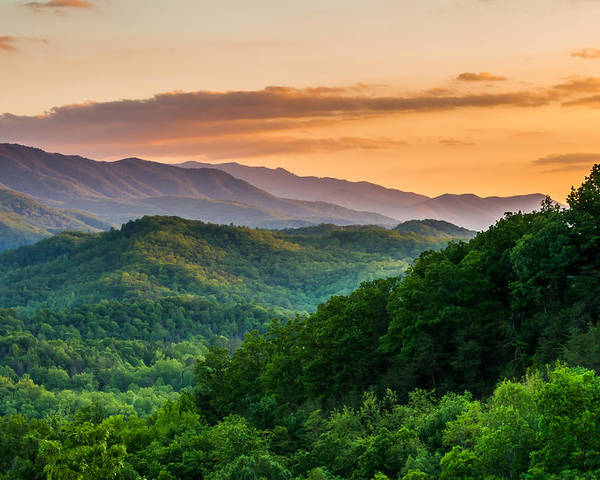 Smoky Mountains Poster featuring the photograph Sunset In The Smoky's by Paul Johnson