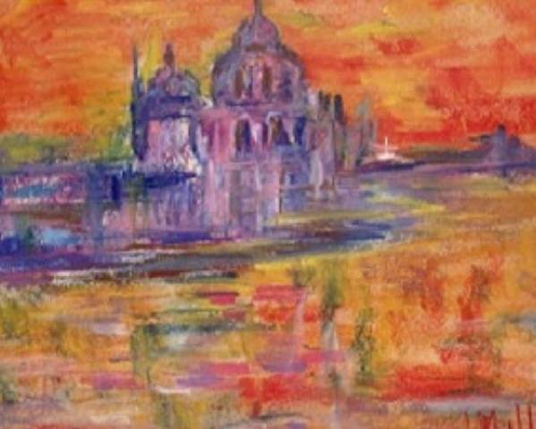 Sea Poster featuring the painting Sunset In Venice by Milla Nuzzoli