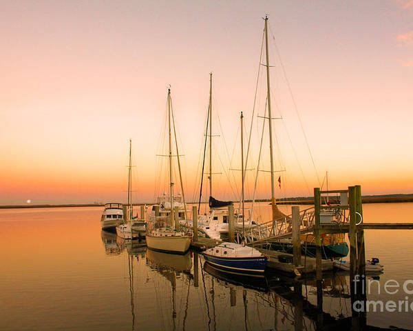Boats Poster featuring the photograph Sunset On The Dock by Southern Photo