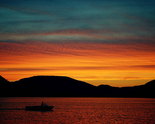 Sunset Poster featuring the photograph Sunset On The Hudson by Judy Salcedo