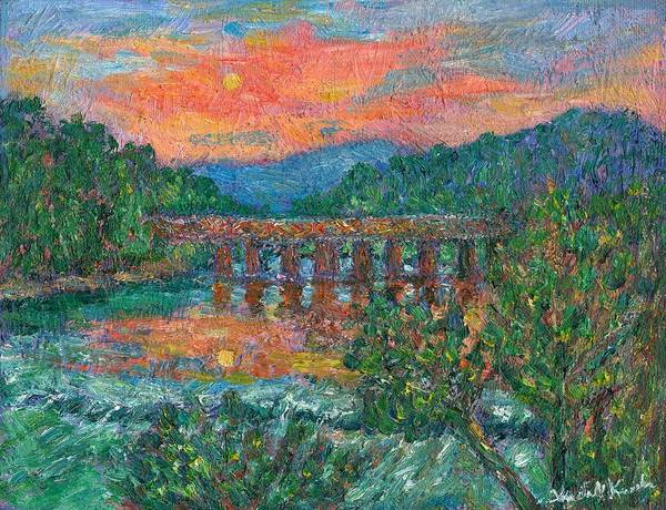 Kendall Kessler Poster featuring the painting Sunset On The New River by Kendall Kessler