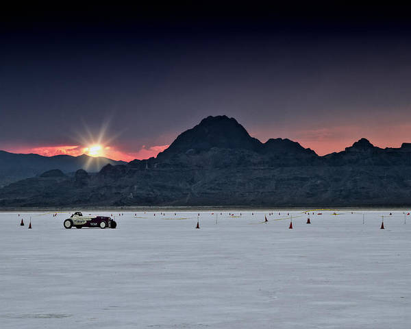 Bonneville Poster featuring the photograph Sunset On The Salt Bonneville 2012 by Holly Martin