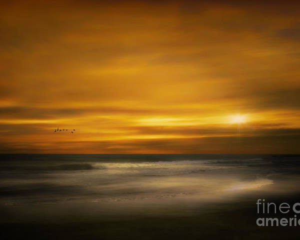 Summer Poster featuring the photograph Sunset On The Surf by Tom York Images