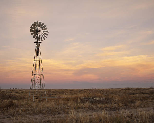 Windmill Poster featuring the photograph Sunset On The Texas Plains by Melany Sarafis