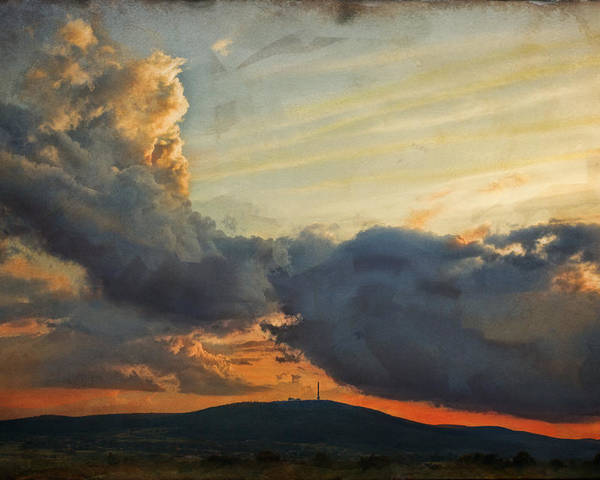 Digital Painting Poster featuring the photograph Sunset over Holy Cross Mountains by Anna Gora