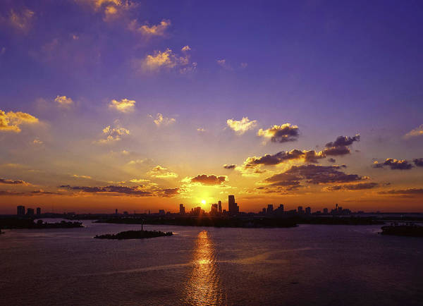 Sunset Poster featuring the photograph Sunset Over Miami by Lou Novick