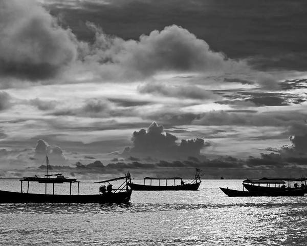 Sunset Poster featuring the photograph Sunset Over The Gulf Of Thailand Black And White by David Freuthal