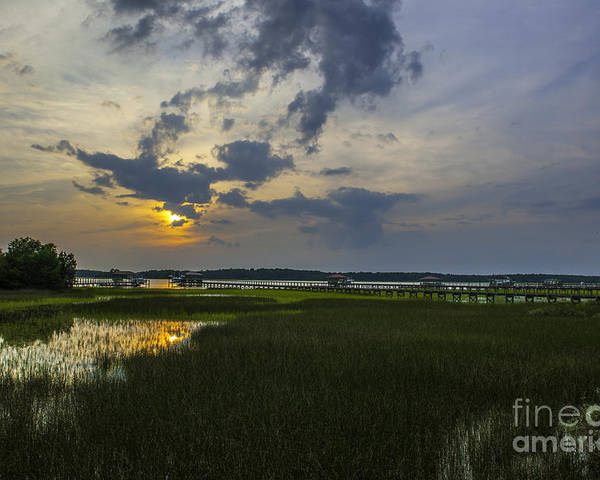 Sunset Poster featuring the photograph Lowcountry Sunset Over The Wando River by Dale Powell