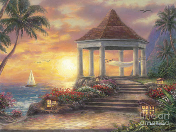 Gazebo Poster featuring the painting Sunset Overlook by Chuck Pinson