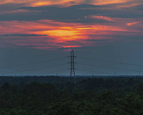 Sunset Power Over Pine Barrens Nj Poster featuring the photograph Sunset Power Over Pine Barrens Nj by Terry DeLuco