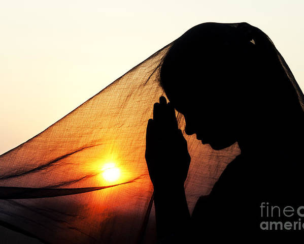 Girl Poster featuring the photograph Sunset Prayers by Tim Gainey